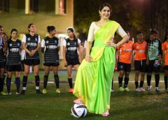 Sagarika Ghatge in a saree and sports shoes! Promotes 'Monsoon Football'