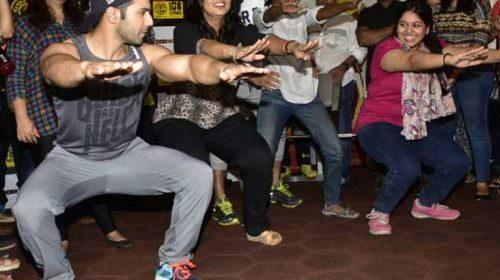 Varun Dhawan workout with female journos