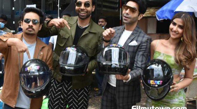 Aparshakti Khurana, Pranutan Bahl promote their upcoming film HELMET